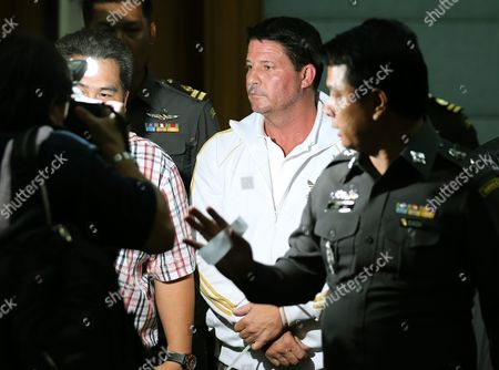 Alleged Fraud Suspect Us National Theodore Andrew Werner 48 (c) is Escorted by Thai Polices to a Press Conference at Central Investigation Bureau in Bangkok Thailand 20 July 2015 Thai Police Arrested a Suspected Us Man on Suspicion of Criminal Acts of Internet Fraud Worth Two Million Us Dollars (about 70 Million Thai Baht Or 1 84 Million Euro) As Wanted Under Us Law Enforcement by New York of United State on 18 July 2018 at Phuket Island Southern Thailand the Police Said Thailand Bangkok
