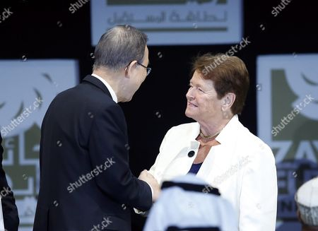 United Nations Secretary-general Ban Ki-moon (l) Shakes Hand with Ex-prime Minister of Norway and United Nations Special Envoy For Climate Change Gro Harlem Brundtland (r) After Receiving Lifetime Achievement Award of Zayed Future Energy Prize During the Opening Ceremony of Abu Dhabi Sustainability Week 2016 (adsw) in Abu Dhabi United Arab Emirates 18 January 2016 Global Leaders in Policy Technology and Business Will Discuss During the Adsw 2016 New Ways of Thinking and Shaping the Future of Renewable Energy Sustainable Development and Clean Energy United Arab Emirates Abu Dhabi