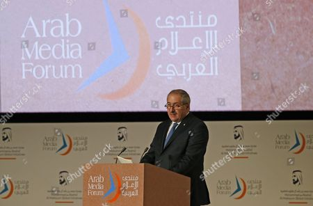 Nasser Judeh Minister of Foreign Affairs and Deputy Prime Minister of Jordan Gives a Speech During the Opening Ceremony of 15th Edition of Arab Media Forum 2016 in Dubai United Arab Emirates 10 May 2016 the Arab Media Forum is the Region's Largest Arab Media Gathering It is Running Till 11 May 2016 United Arab Emirates Dubai