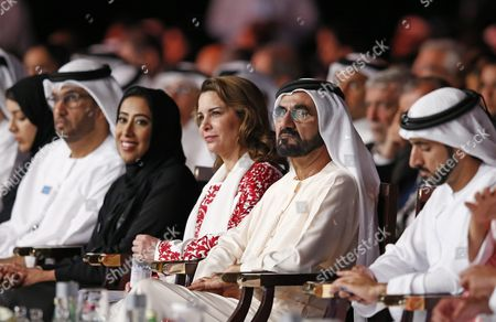 From (l-r) He Reem Al Hashimy Emirati Minister of State and Managing Director For the Dubai World Expo 2020 Bid Committee Sultan Ahmed Al Jaber Minister of State in the United Arab Emirates and the Chairman of Masdar H E Mona Al Marri Director General of the Government of Dubai Media Office (gdmo) and Chairperson of the Arab Media Forum Hrh Princess Haya Bint Al-hussein of Jordan His Highness Sheikh Mohammed Bin Rashid Al Maktoum Vice President and Prime Minister of the Uae and Ruler of Dubai and His Highness Sheikh Hamdan Bin Mohammed Bin Rashid Al Maktoum Crown Prince of Dubai and Chairman of Dubai Executive Council Attend the Opening Ceremony of 15th Edition of Arab Media Forum 2016 in Dubai United Arab Emirates 10 May 2016 the Arab Media Forum is the Region's Largest Arab Media Gathering It is Running Till 11 May 2016 United Arab Emirates Dubai