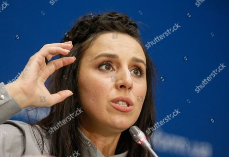 Ukrainian Singer Jamala Reacts During Her Press Conference in Kiev Ukraine 17 May 2016 Jamala Won the 61st Annual Eurovision Song Contest (esc) with the Song '1944' at the Ericsson Globe Arena in Stockholm on 14 May 2016 There Were 26 Finalists From As Many Countries Competing in the Grand Final Ukraine Kiev