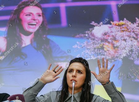 Ukrainian Singer Jamala Answers Questions of Journalists During Her Press Conference in Kiev Ukraine 17 May 2016 Jamala Won the 61st Annual Eurovision Song Contest (esc) with the Song '1944' at the Ericsson Globe Arena in Stockholm on 14 May 2016 There Were 26 Finalists From As Many Countries Competing in the Grand Final Ukraine Kiev