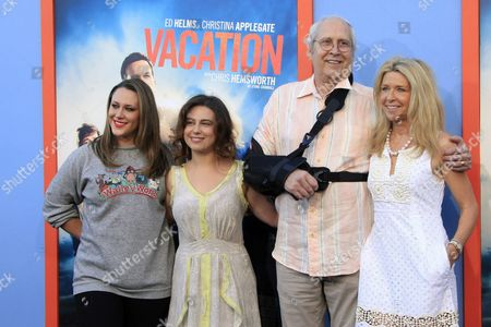 Us Actor/cast Member Chevy Chase (2-r) who Had a Shoulder Surgery) Arrives with His Daughters Emily Chase (l) and Caley Chase (2-l) and His Wife Jayni Chase (r) For the Los Angeles Premiere of Warner Bros Pictures 'Vacation' at the Regency Village Theatre in Westwood Los Angeles California Usa 27 July 2015 the Movie Opens in the Us on 29 July 2015 United States Los Angeles