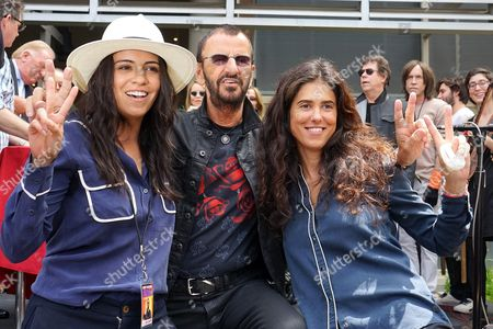Uk Musician Ringo Starr Poses with Step Daughter Francesca Gregorini (r) and Mexican Actress Olga Segura (l) at a Celebration of His 75th Birthday at Capitol Records in Hollywood Los Angeles California Usa 07 July 2015 the Former Beatle Celebrated with a Peace & Love Salute at Noon with Friends and Fans United States Los Angeles
