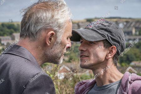Stock Picture of Unforgotten (Series 2, Episode 5) - Mark Bonnar as Colin and Josef Altin as Tyler.