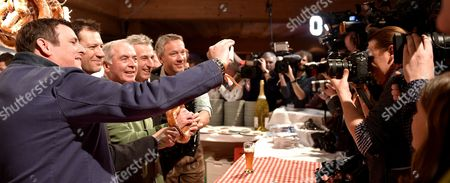 (L-R) Austrian Musican Marc Pircher, former Skier Stephan Eberharter, former ski champion Karl Schranz, former Skier Leonhard Stock and former Skier Fritz Strobel pose as they attend the Weisswurstparty at the Stanglwirt Hotel in Going am Wilden Kaiser, Austria, 20 January 2017. Celebrities meet at the party held on the fringes of famous Hahnenkamm ski race.