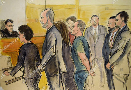 """In this courtroom drawing, Joaquin """"El Chapo"""" Guzman, center, appears in a New York courtroom, after being extradited by Mexico to face federal drug trafficking and other charges. Guzman entered a not-guilty plea through his court-appointed lawyer and will be held without bail in a jail that has handled terror suspects and mobsters. From left are, Federal Judge James Orenstein; Assistant US Attorney Patricia Notopoulos; Federal Defender Michael Schneider, Federal Defender Michelle Gelernt, partially obscured; and the defendant. The three men at rear are Deputy U.S. Marshals"""