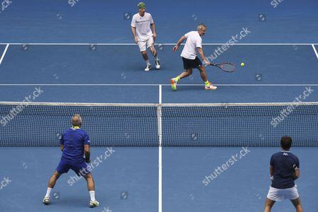 John McEnroe, Patrick McEnroe, Mansour Bahrami and Fabrice Santoro