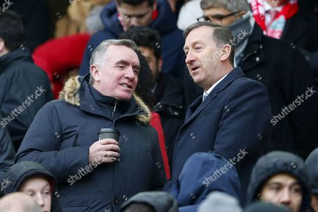 Liverpool Chief Executive Ian Ayre chats with Swansea City Chairman Huw Jenkins ahead of the Premier League match between Liverpool and Swansea City played at Anfield, Liverpool on 21st January 2017