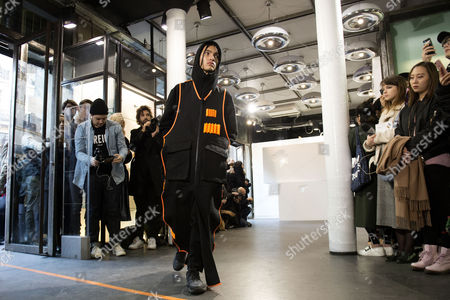 A model presents a creation from the Fall/Winter 2017/18 Men's collection by French designers Laura Do and Bastien Laurent for Avoc during the Paris Fashion Week, in Paris, France, 21 January 2017. The presentation of the Men's collections runs from 18 to 22 January.