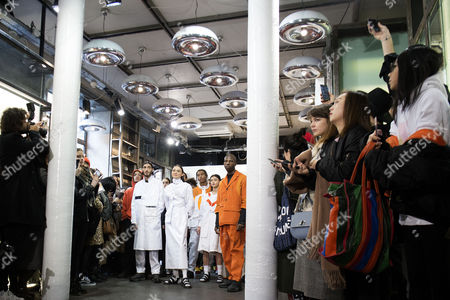 Models present creations from the Fall/Winter 2017/18 Men's collection by French designers Laura Do and Bastien Laurent for Avoc during the Paris Fashion Week, in Paris, France, 21 January 2017. The presentation of the Men's collections runs from 18 to 22 January.