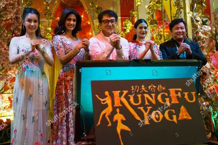"""Stock Photo of Miya Muqi, Disha Patani, Jackie Chan, Amyra Dastur, Stanley Tong The cast of Kung Fu Yoga, from left, Miya Muqi, Disha Patani, Jackie Chan, Amyra Dastur and Stanley Tong pose for a group photo during an event to promote their new movie """"Kung Fu Yoga"""" at a shopping mall in Kuala Lumpur, Malaysia"""