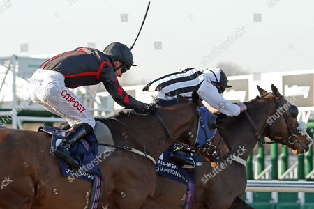 ETAAD (left, George Baker) beats SEVEN CLANS (right) in The Betway Middle Distance Handicap Lingfield