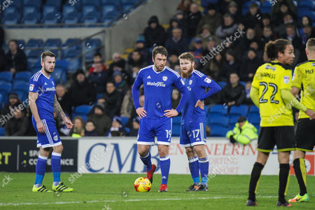 Rickie Lambert of Cardiff City lines up a free kick during the EFL Sky Bet Championship match between Cardiff City and Burton Albion at the Cardiff City Stadium, Cardiff
