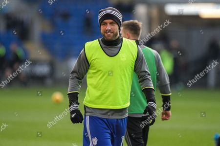 Rickie Lambert of Cardiff City warms-up before the EFL Sky Bet Championship match between Cardiff City and Burton Albion at the Cardiff City Stadium, Cardiff