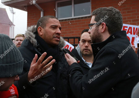 Former Nottingham Forest player Stan Collymore is interviewed about his part in the protest during the Sky Bet Championship match between Nottingham Forest  and Bristol City played at The City Ground, Nottingham on 21st January 2017