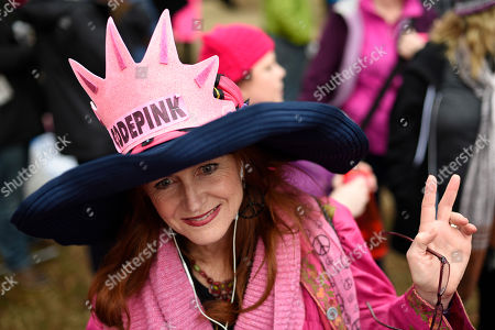 Stock Image of Jodi Evans from Los Angeles, Calif., attends the Women's March on Washington on Independence Ave. on in Washington, on the first full day of Donald Trump's presidency. Thousands are massing on the National Mall for the Women's March, and they're gathering, too, in spots around the world