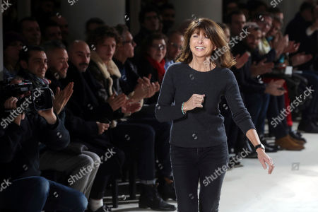 French designer Veronique Nichanian acknowledges applause at the end of Hermes Men's Fall Winter 2017-2018 fashion collection, presented in Paris