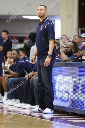 Nathan Hale's head coach Brandon Roy is seen on the sidelines against Oak Hill Academy during a high school basketball game at the 2017 Hoophall Classic, in Springfield, MA
