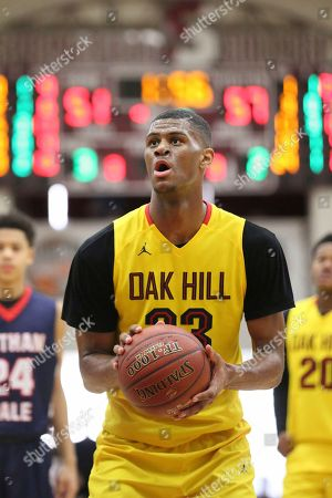Oak Hill Academy's Billy Preston #23 shoots a free throw against Nathan Hale during a high school basketball game at the 2017 Hoophall Classic, in Springfield, MA