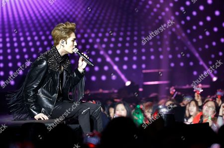"South Korean K-pop group JYJ member Kim Jae-joong performs during his concert ""Asia Tour In Seoul"" at Hwajung Gymnasium in Seoul, South Korea"