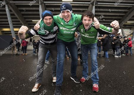 Toulouse vs Connacht. Connacht fans Kieran Murphy and John Cannon from Mayo with Ray Clarke from Galway before the game