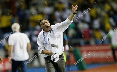 Stock Picture of Gabon's soccer team Coach, Jose Antonio Camacho, give instructions during the African Cup of Nations Group A soccer match between Gabon and Cameroon at the Stade de l'Amitie, in Libreville, Gabon