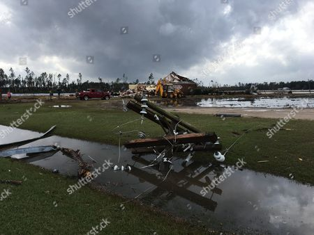Damage from an apparent tornado Sunday, January 22 at a farm In Cook County, Georgia