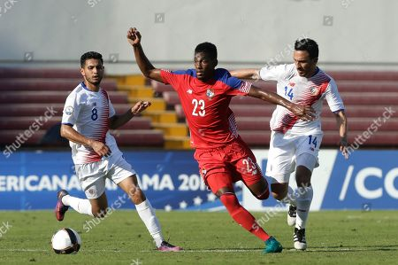 Michael Amir Murillo, Randall Azofeifa, Deyver Vega Panama's Michael Amir Murillo, center, fights for the ball with Costa Rica's Randall Azofeifa, right, and Deyver Vega during a Central America Cup soccer match in Panama City