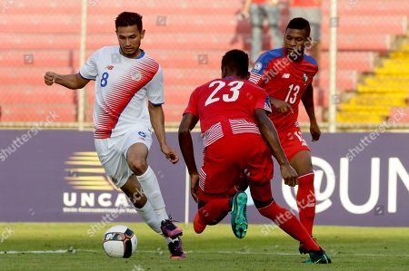 Deyver Vega, Michael Amir Murillo, Angel Patrick Costa Rica's Deyver Vega, left, controls the ball near Panama's Michael Amir Murillo, center, and Angel Patrick, right, during a Central America Cup soccer match in Panama City
