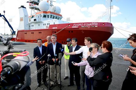 Australian Federal Infrastructure and Transport Minister, Darren Chester holds a press conference with (L-R) Malaysian Minister for Transport, Minister Liow Tiong Lai, Project Director on the Fugro Equator, Paul Kennedy, Director, Chief Commissioner Australian Transport Safety Bureau (ATSB), Greg Hood and China Maritime Search and Rescue Center, Zhi Guanglu, in front of the Fugro Equator, one of the vessels involved in the MH370 underwater search at the Australian Marine complex in Henderson, Perth, Western Australia, Australia, 23 January 2017. Searchers for MH370 maintain the missing Malaysia Airlines flight is probably to the north of where they'd been looking in the southern Indian Ocean. The plane went missing from radar on 08 March 2014, while traveling to Beijing, China from Kuala Lumpur, Malaysia with 239 people aboard.