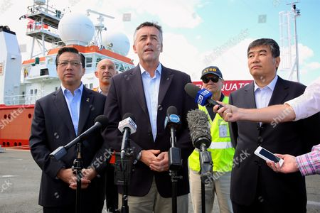 Australian Federal Infrastructure and Transport Minister, Darren Chester holds press conference with (L-R) Malaysian Minister for Transport, Minister Liow Tiong Lai, Project Director on the Fugro Equator, Paul Kennedy, Director, Chief Commissioner Australian Transport Safety Bureau (ATSB), Greg Hood and China Maritime Search and Rescue Center, Zhi Guanglu, in front of the Fugro Equator, one of the vessels involved in the MH370 underwater search at the Australian Marine complex in Henderson, Perth, Western Australia, Australia, 23 January 2017. Searchers for MH370 maintain the missing Malaysia Airlines flight is probably to the north of where they'd been looking in the southern Indian Ocean. The plane went missing from radar on 08 March 2014, while traveling to Beijing, China from Kuala Lumpur, Malaysia with 239 people aboard.