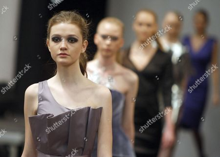 Models Display Creations by Fashion Designer Dmitry Sholokhov For O Jen During the Belarus Fashion Week in Minsk Belarus 25 April 2013 the Presentation of the Fall-winter 2013/2014 Collections Runs From 25 to 28 April Belarus Minsk