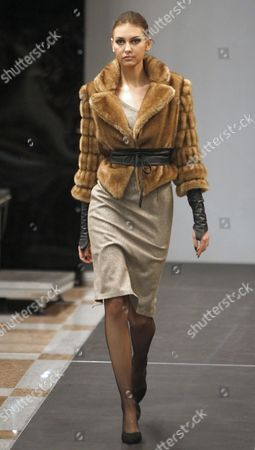 A Model Displays a Creation by Fashion Designer Dmitry Sholokhov For O Jen During the Belarus Fashion Week in Minsk Belarus 25 April 2013 the Presentation of the Fall-winter 2013/2014 Collections Runs From 25 to 28 April Belarus Minsk