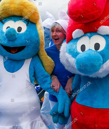 Veronique Culliford (r) the Daughter of Smurfs Creator Peyo Posea As 40 Smurfs Ambassadors From 28 Countries Gather For a Family Picture in Brussels Begium 22 June 2012 As Party of Global Smurfs Day in Celebration of the Birthday of Peyo the Belgian the Creator of the Smurfs (born June 25 1928) Columbia Pictures and Sony Pictures Animation Coordinate Events All Over the World As Part of Global Smurfs Day a Worldwide Event in Anticipation of the Release of the Smurf 2 in Theaters July 31 Belgium Brussels
