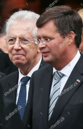 Former Dutch Prime Minister Jan Peter Balkenende (r) and Former Italian Prime Minister Mario Monti (l) Leave the Gent Cathedral After the National Funeral of Wilfried Martens in Gent Belgium 19 Ocotber 2013 Martens Former Belgium Prime Minister and Former President of the European People Party (epp) Died on 09 October 2013 at the Age of 77 Belgium Gent