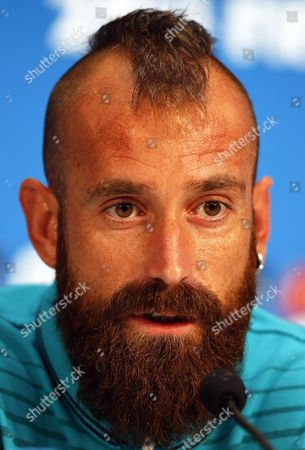 Portuguese National Soccer Team Player Raul Meireles Attends a Press Conference at the Arena Amazonia in Manaus Brazil 21 June 2014 Portugal Will Face the Usa in the Fifa World Cup 2014 Group G Preliminary Round Match in Manaus on 22 June 2014 (restrictions Apply: Editorial Use Only not Used in Association with Any Commercial Entity - Images Must not Be Used in Any Form of Alert Service Or Push Service of Any Kind Including Via Mobile Alert Services Downloads to Mobile Devices Or Mms Messaging - Images Must Appear As Still Images and Must not Emulate Match Action Video Footage - No Alteration is Made to and No Text Or Image is Superimposed Over Any Published Image Which: (a) Intentionally Obscures Or Removes a Sponsor Identification Image; Or (b) Adds Or Overlays the Commercial Identification of Any Third Party Which is not Officially Associated with the Fifa World Cup) Brazil Manaus
