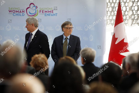 Canada's Prime Minister Stephen Harper Left Stands Alongside Microsoft Co-founder and Philanthropist Bill Gates at the Delegation of the Ismaili Imamat in Ottawa Canada on 25 February 2015 Gates Met with Harper to Discuss Global Efforts to Improve the Health of Mothers and Children in Low-income Countries Canada Ottawa