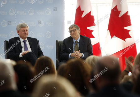 Canada's Prime Minister Stephen Harper Left Sits Alongside Microsoft Co-founder and Philanthropist Bill Gates Right at the Delegation of the Ismaili Imamat in Ottawa Canada on 25 February 2015 Gates Met with Harper to Discuss Global Efforts to Improve the Health of Mothers and Children in Low-income Countries Canada Ottawa