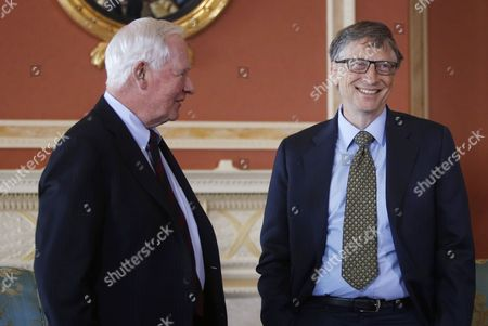 Microsoft Co-founder and Philanthropist Bill Gates (r) Speaks with Canada's Governor General David Johnston at Rideau Hall in Ottawa Canada 25 February 2015 Gates is in Ottawa to Meet with Prime Minister Stephen Harper to Discuss Global Efforts to Improve the Health of Mothers and Children in Low-income Countries Canada Ottawa