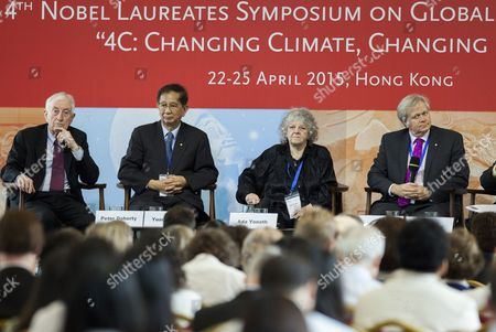 Stock Photo of (l-r) Nobel Prize Laureates Peter Doherty 1996 in Physiology and Medicine Yuan T Lee 1986 in Chemistry Ada Yonath 2009 in Chemistry and Brian Schmidt 2011 in Physics Attend a Climate Change Symposium Organized by the Potsdam Institute For Climate Impact Research and Hosted by the Asia Society Hong Kong China 22 April 2015 Reports State Noble Prize Winners in Different Fields Gathered in a Four-day Symposium to Discuss Climate Change Issues and Ideas to Deal with Global Warming China Hong Kong