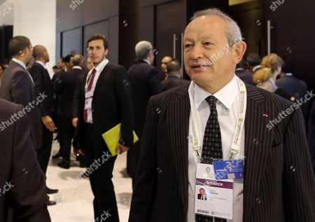 Egyptian Businessman Naguib Sawiris (r) Leaves After the Opening Session of the Economic Development Conference (eedc) in the Red Sea Resort of Sharm El-sheikh Egypt 13 March 2015 Egyptian President Abdel Fattah Al-sisi Will on 13 March Open the Egypt Economic Development Conference in the Resort Town of Sharm Al-sheikh in the Presence of Global Business Executives and Government Officials Egypt's Economy Has Been Wracked by Four Years of Unrest Since the 2011 Revolt That Deposed Longtime President Hosni Mubarak Egypt Sharm Elsheikh