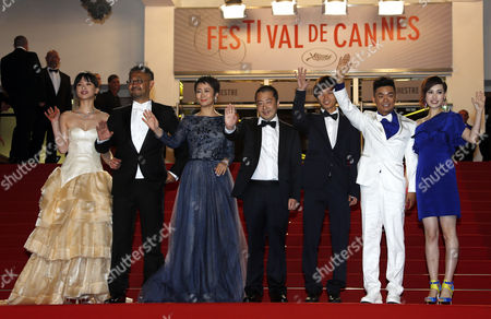 (l-r) Chinese Actors Meng Li Jiang Wu Tao Zhao Director Jia Zhangke Actors Lanshan Luo Baoqiang Wang and His Wife Ma Rong Arrive For the Screening of 'Tian Zhu Ding' (a Touch of Sin) During the 66th Annual Cannes Film Festival in Cannes France 17 May 2013 the Movie is Presented in the Official Competition of the Festival Which Runs From 15 to 26 May France Cannes
