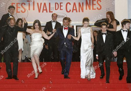 (l-r) French Actor Frederic Pierrot French Actress Geraldine Pailhas French Director Francois Ozon French Actress Marine Vacth French Actor Fantin Ravat and French Actor Laurent Delbecque Leave the Screening of 'Jeune & Jolie' (young & Beautiful) During the 66th Annual Cannes Film Festival in Cannes France 16 May 2013 the Movie was Presented in the Official Competition of the Festival Which Runs From 15 to 26 May France Cannes
