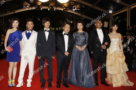 (l-r) Ma Rong and Husband Baoqiang Wang Lanshan Luo Jia Zhangke Tao Zhao Jiang Wu and Meng Li Arrive For the Screening of 'Tian Zhu Ding' (a Touch of Sin) During the 66th Annual Cannes Film Festival in Cannes France 17 May 2013 the Movie is Presented in the Official Competition of the Festival Which Runs From 15 to 26 May France Cannes