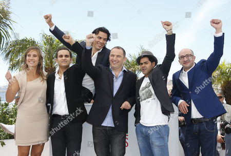 (l-r) French Actress Julie De Bona French Actor Malik Bentalha French Actor Tewfik Jallab Moroccan Director Mohamed Hamidi French Actor Jamel Debbouze and Actor Fatsah Bouyahmed Pose During the Photocall For 'Ne Quelque Part' at the 66th Annual Cannes Film Festival in Cannes France 21 May 2013 the Movie is Presented in the Special Screenings Section of the Festival Which Runs From 15 to 26 May France Cannes