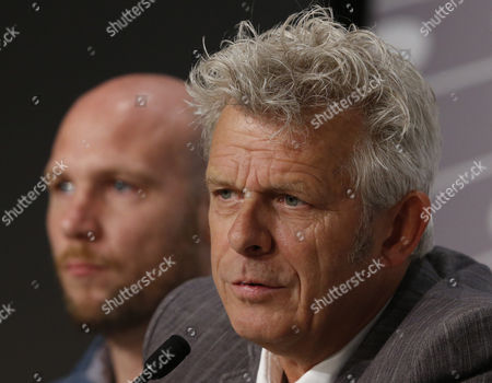 Flemish Actor Jeroen Perceval (l) and Dutch Director Alex Van Warmerdam (r) Attend the Press Conference For 'Borgman' During the 66th Annual Cannes Film Festival in Cannes France 19 May 2013 the Movie is Presented in the Official Competition of the Festival Which Runs From 15 to 26 May France Cannes