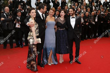 (l-r) French Actress Camille Lellouche French Actor Denis Menochet French Actress Lea Seydoux French Director Rebecca Zlotowski and French Actor Tahar Rahim Arrive For the Screening of 'Jimmy P (psychotherapy of a Plains Indian)' During the 66th Annual Cannes Film Festival in Cannes France 18 May 2013 the Movie is Presented in the Official Competition of the Festival Which Runs From 15 to 26 May France Cannes