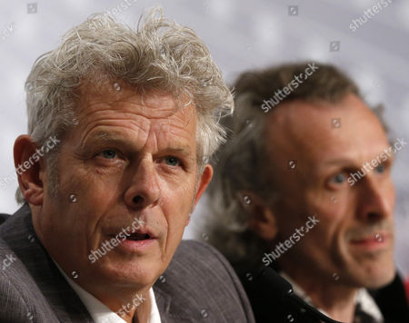 Dutch Director Alex Van Warmerdam (l) and Dutch Actor Jan Bijvoet (r) Attend the Press Conference For 'Borgman' During the 66th Annual Cannes Film Festival in Cannes France 19 May 2013 the Movie is Presented in the Official Competition of the Festival Which Runs From 15 to 26 May France Cannes