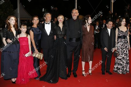 French Actress Roxane Duran (l) French Actress Amira Casar (r) French Director Arnaud Des Pallieres (4-r) French Actor Denis Lavant (2-r) French Actress Delphine Chuillot (5-l) French Actress Melusine Mayance (2-l) Danish Actor Mads Mikkelsen (4-l) His Wife Hanne Jacobsen (3-l) and Guests Arrive For the Screening of 'Michael Kohlhaas' During the 66th Annual Cannes Film Festival in Cannes France 24 May 2013 the Movie is Presented in the Official Competition of the Festival Which Runs From 15 to 26 May France Cannes